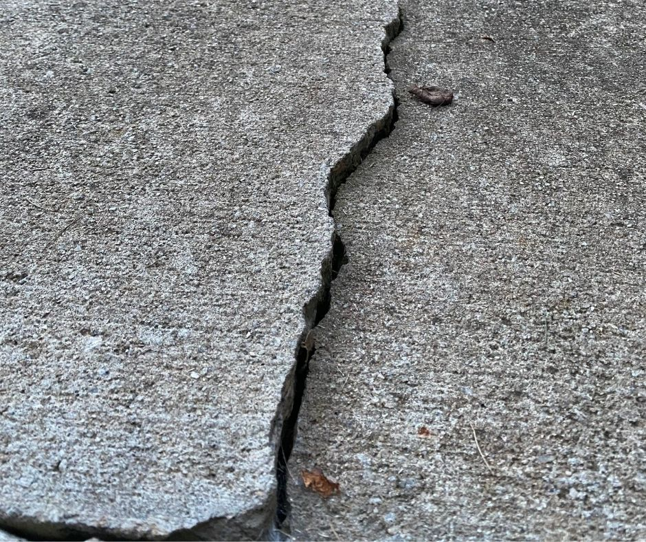 Cracked driveway in Jacksonville in need of repair