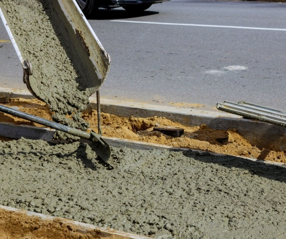 Pouring concrete in a new sidewalk in Jacksonville, FL